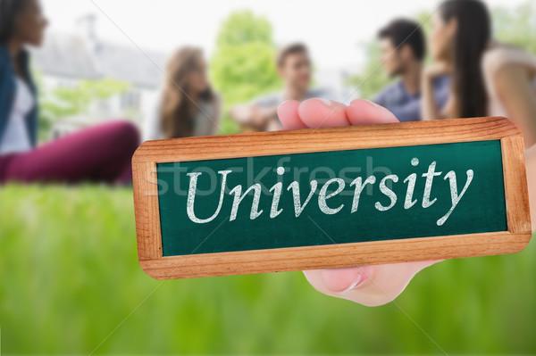Universiteit gelukkig studenten vergadering buiten campus Stockfoto © wavebreak_media