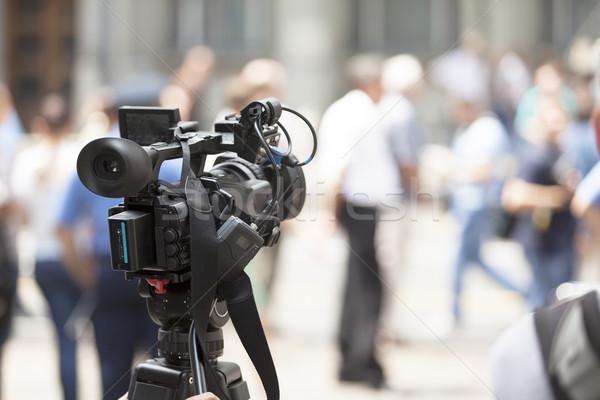 Esemény videókamera televízió kommunikáció média fókusz Stock fotó © wellphoto