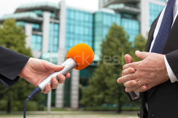 Reporter holding microphone interviewing businessman or politici Stock photo © wellphoto