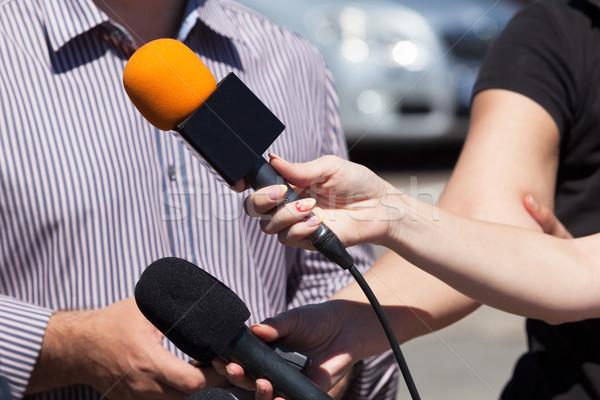 Media interview. Microphones. Stock photo © wellphoto