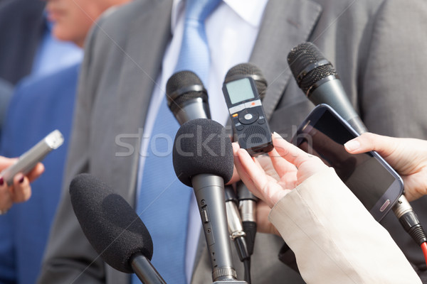 Media interview. Press conference. Microphones. Stock photo © wellphoto