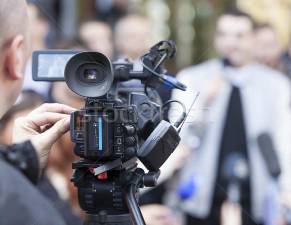 Sajtótájékoztató média technológia mikrofon videó információ Stock fotó © wellphoto