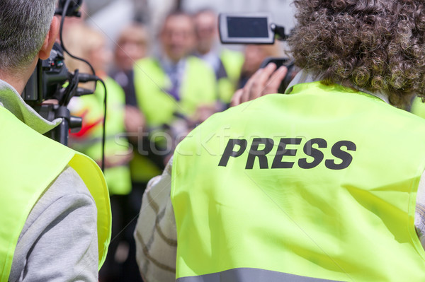 Lövöldözés esemény videókamera sajtótájékoztató hírek konferencia Stock fotó © wellphoto