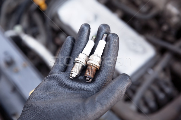 Spark plug, old and new Stock photo © wellphoto
