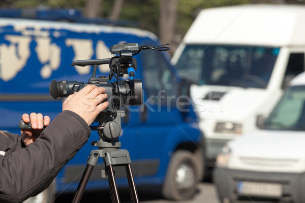 Filming a traffic jam Stock photo © wellphoto