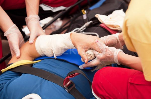 Pronto soccorso formazione trattamento mano lesioni infermiera Foto d'archivio © wellphoto