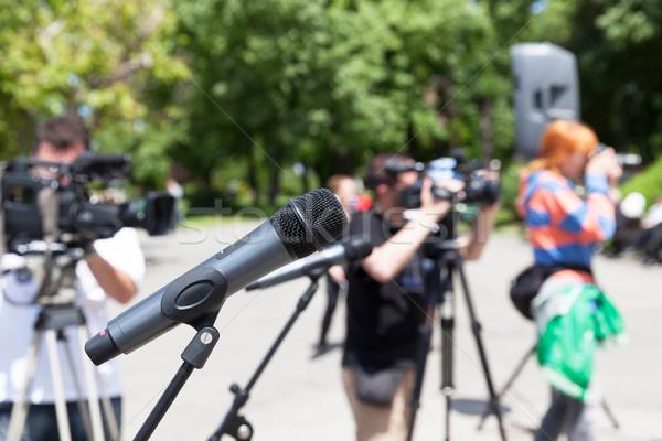 Hírek konferencia mikrofon fókusz elmosódott kamera Stock fotó © wellphoto
