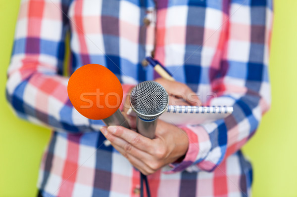 Journalist. News conference. Microphones. Stock photo © wellphoto