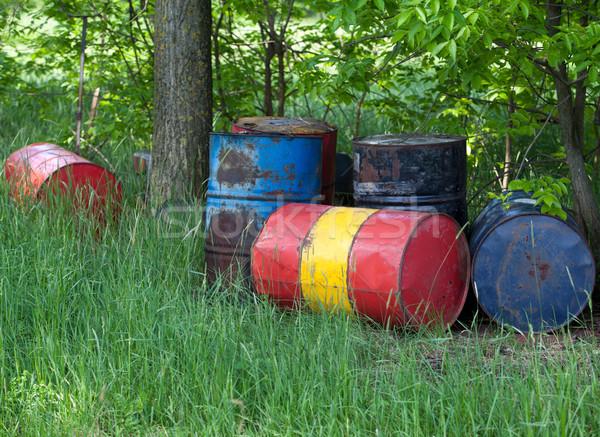 Arrugginito tamburi olio natura campo verde Foto d'archivio © wellphoto