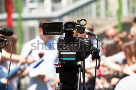 Media interview tv televisie zakenman conferentie Stockfoto © wellphoto