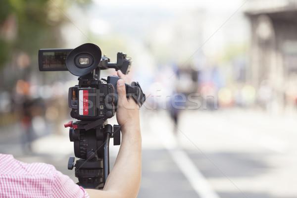 события видеокамерой улице технологий связи прессы Сток-фото © wellphoto