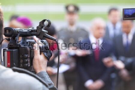 Stockfoto: Videocamera · evenement · televisie · microfoon · communicatie · praten
