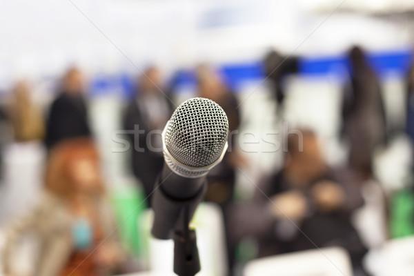 Mikrofon fókusz elmosódott közönség üzlet kommunikáció Stock fotó © wellphoto