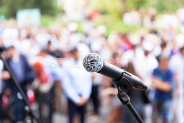 Nyilvános beszél mikrofon fókusz elmosódott közönség Stock fotó © wellphoto