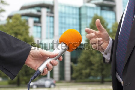 Druk interview media journalistiek microfoon nieuws Stockfoto © wellphoto