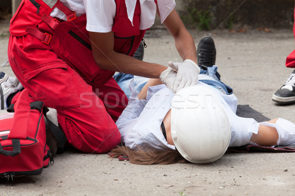 Work accident. First aid training. Stock photo © wellphoto