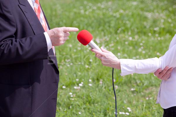 Mídia entrevista feminino repórter empresário Foto stock © wellphoto