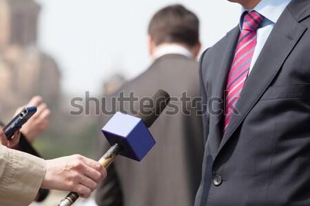 Media interview journalist zakenman politicus Stockfoto © wellphoto