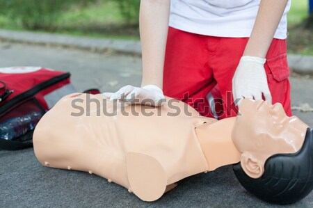 Hart massage paramedicus geneeskunde helpen Stockfoto © wellphoto