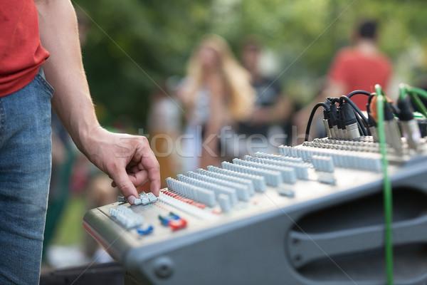 Hand on an audio mixer Stock photo © wellphoto