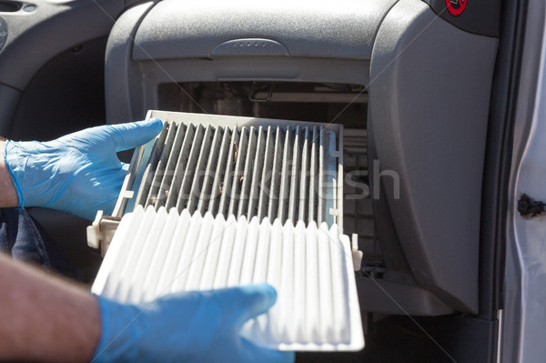 Cabina aire filtrar limpio sucia coche Foto stock © wellphoto