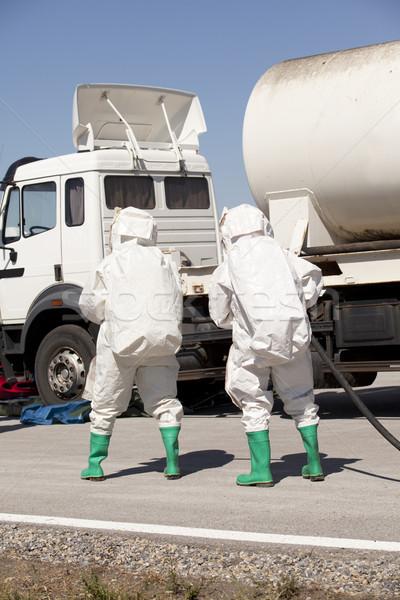 Chemische weg ongeval pak werken chemie Stockfoto © wellphoto