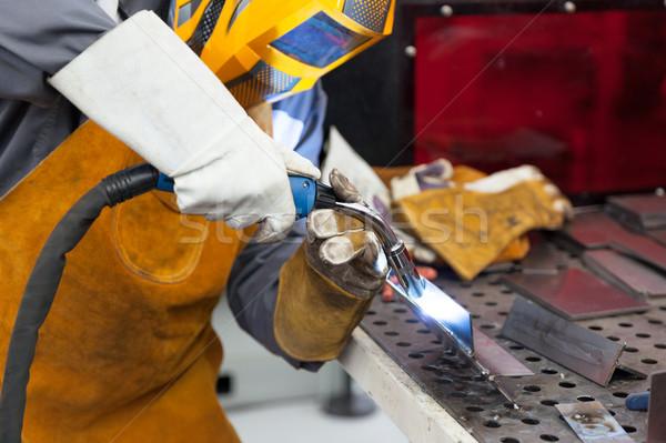 Azione saldatura lavoratore maschera metal Foto d'archivio © wellphoto