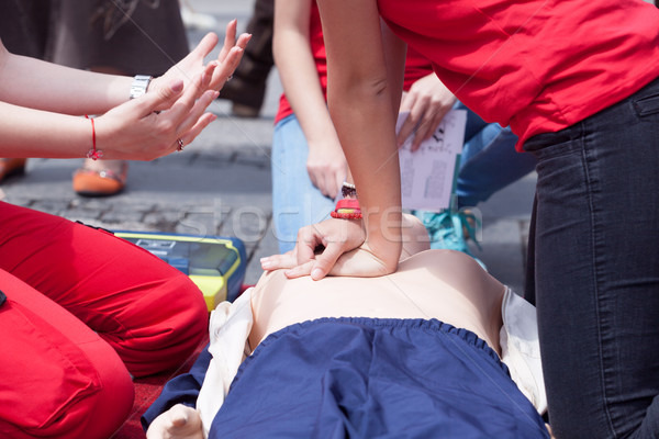 First aid training detail. CPR. Stock photo © wellphoto