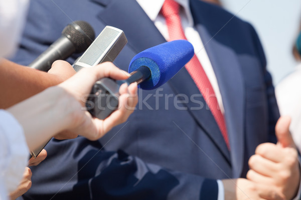 Media interview with businessman, politician or spokesperson Stock photo © wellphoto