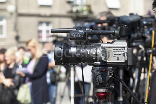 Filmadora evento televisão notícia conferência vídeo Foto stock © wellphoto