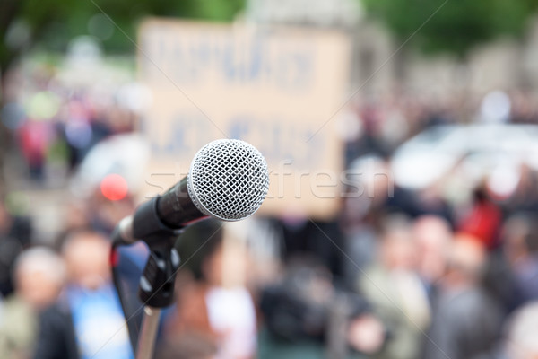 Protest. Public demonstration. Microphone. Stock photo © wellphoto
