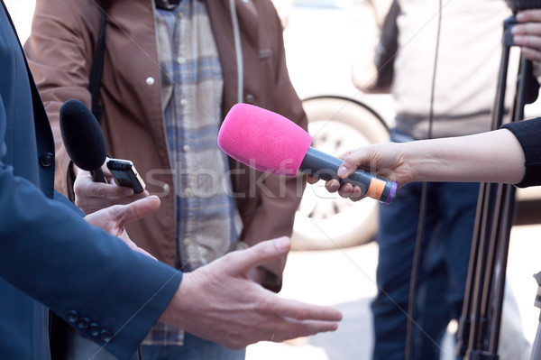 Microphone in focus. Press or media interview. Stock photo © wellphoto