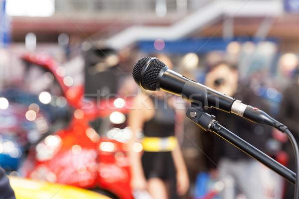 Mikrofon fókusz elmosódott bemutató emberek nyilvános Stock fotó © wellphoto