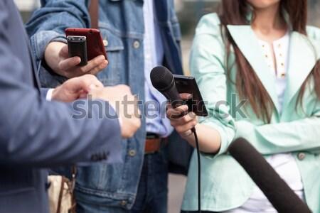 Stockfoto: Tv · interview · media · nieuws · conferentie · hand