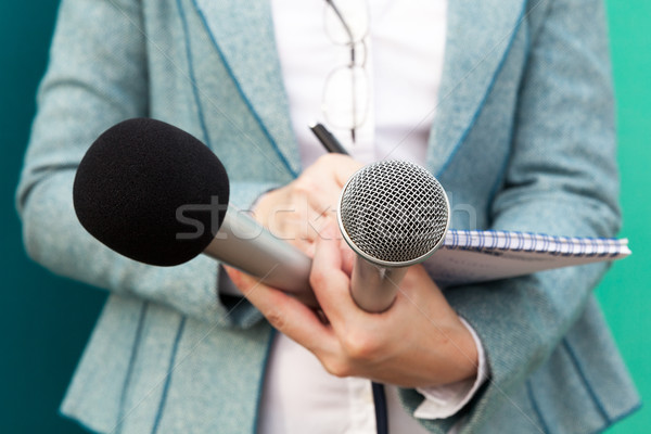 Female reporter at press conference, writing notes, holding microphone Stock photo © wellphoto