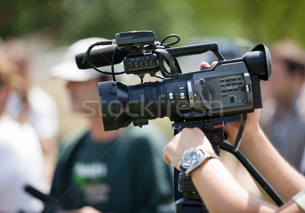 Videókamera esemény televízió technológia mikrofon kommunikáció Stock fotó © wellphoto