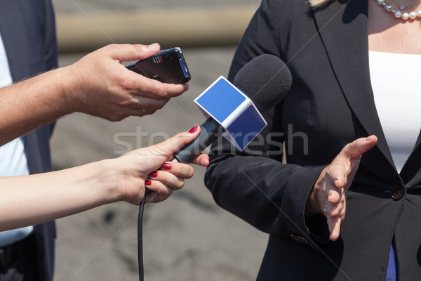 Journalists making interview with business woman Stock photo © wellphoto