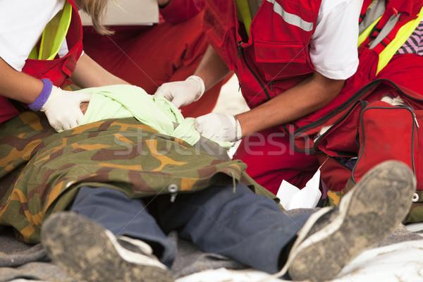 Ilk yardım eğitim tedavi el hasar doktor Stok fotoğraf © wellphoto