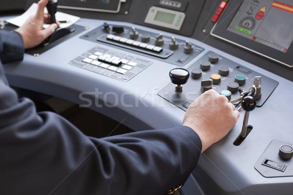Tren sürücü adam sürücü eller seyahat Stok fotoğraf © wellphoto