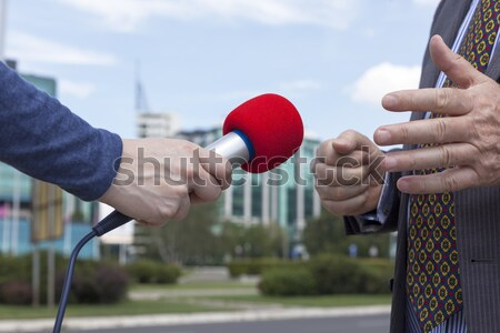 Journaliste micro tv radio Homme Photo stock © wellphoto