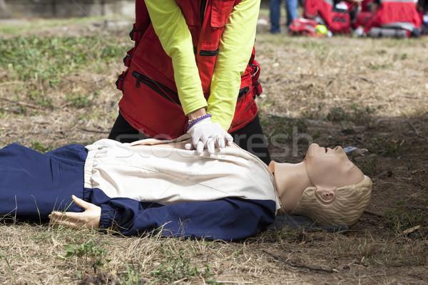Eerste hulp opleiding detail hart massage Stockfoto © wellphoto