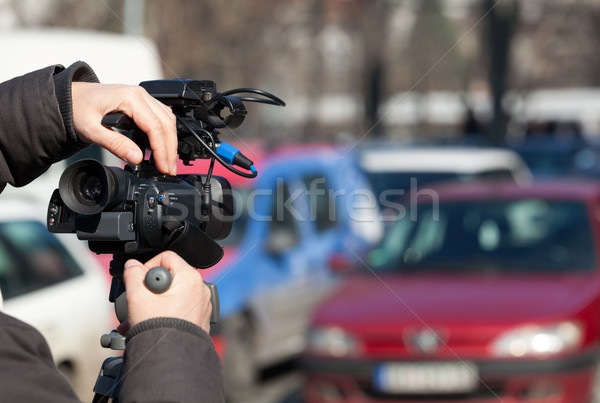 Stock photo: Filming a traffic jam