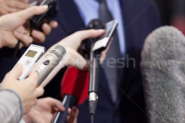Stock photo: Press interview. News conference.