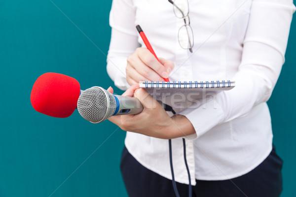 Vrouwelijke journalist nieuws conferentie schrijven merkt Stockfoto © wellphoto