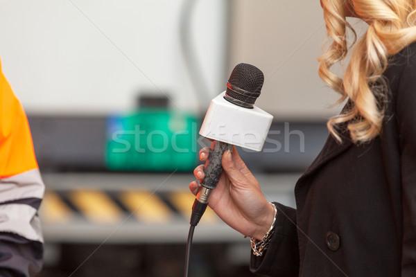 Media interview druk hand televisie microfoon Stockfoto © wellphoto