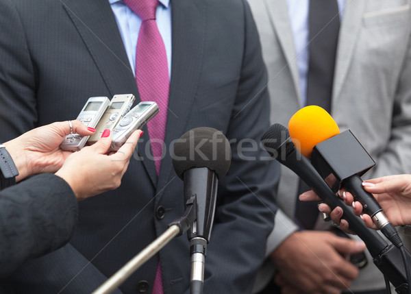 News conference. Media interview. Microphones. Stock photo © wellphoto
