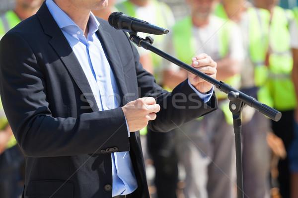 Imprenditore statista discorso pubblico conferenza stampa Foto d'archivio © wellphoto