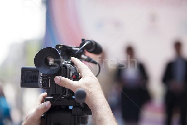 Kareraman esemény videókamera kéz televízió technológia Stock fotó © wellphoto