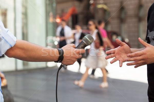 Medya görüşme basın televizyon mikrofon haber Stok fotoğraf © wellphoto