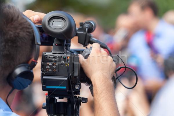 Hírek konferencia esemény videókamera sajtótájékoztató televízió Stock fotó © wellphoto